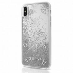 Husa Guess GUHCPXGLUFLSI iPhone XS X Silver Glitter Liquid