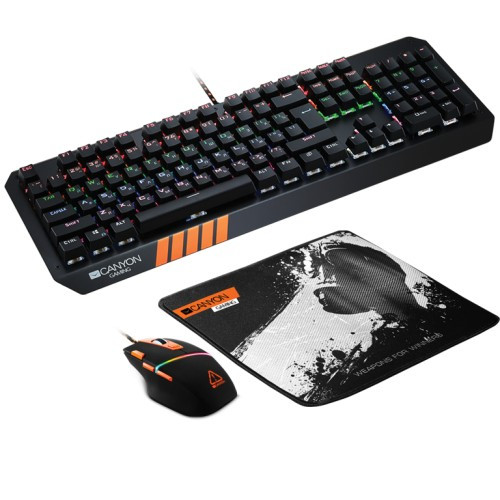 Kit Gaming 3 in 1 Nightflyer Canyon Tastatura RGB LED + Mouse Optic + Mouse Pad Black Grey