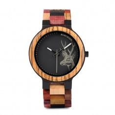 Ceas din lemn Bobo Bird cu curea din lemn, P14-2 Wooden Lux
