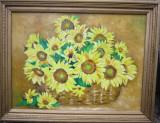 Tablou / Pictura floarea soarelui semnat Cimpoesu, Flori, Ulei, Realism