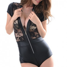 Lady Lust Bikini Monokini Sutie Teddy Babydoll Dantela Negru Piele PU