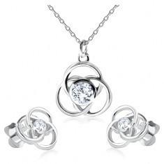 Cercei şi colier din argint 925, contur de floare, petale rotunde, zirconiu