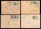 1929-1937 Romania - Set 4 intreguri circulate, carti postale cu stampile de tren