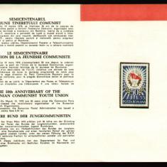 1972 Romania, Semicentenarul UTC LP 786, pliant filatelic de prezentare