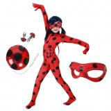 Set costum clasic fete Buburuza, Ladybug,Miraculous, marimea L, 7 - 9 ani, ochelari si yo yo