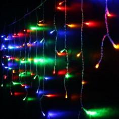 Instalatie luminoasa tip perdea, 260 becuri, 100x400 cm, multicolor