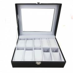 Cutie de ceasuri si bijuterii - Piele Ecologica Neagra