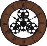 Ceas de perete din metal si MDF design industrial diametru 57cm grosime 4cm Maro