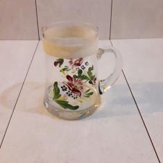 Halba de bere din sticla pictata manual