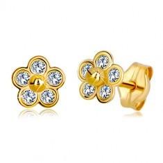 Cercei din aur 585 - floare cu cinci petale din zirconii și bilă din aur în centru