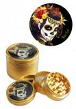 Grinder Black Leaf Mexican Skull, 4 parti, O50mm