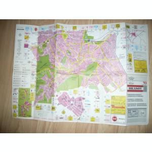 Harta Turistica - Ghidul orasului Brasov 1993 , 68x48cm