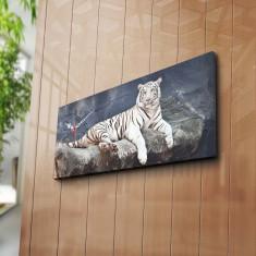 Superb tablou mare impunator cu ceas TIGRU ALB pe stanca, efect 3D - panza/lemn