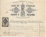 Factura Prima fabrica depoul sobe portelan Anton Spaethe Bucuresti 1877