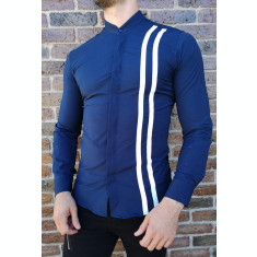 Camasa tunica bleumarin dungi - camasa tunica LICHIDARE STOC camasa slim #202