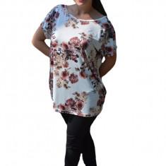 Bluza Lucia ,imprimeu flower cu motive mini-rose pe fond alb