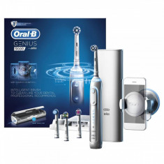 Periuta de dinti electrica Oral-B Genius 9000, Smartring, 6 programe, 4 capete, Conectivitate Bluetooth, Trusa de calatorie, Alba