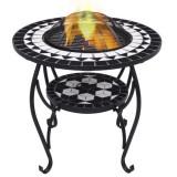 Masă cu vatră de foc, mozaic, negru și alb, 68 cm, ceramică