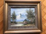 Tablou ,pictura veche franceza,in ulei pe panza,peisaj montan,cabana, Peisaje, Altul