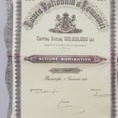 BANCA NATIONALA A ROMANIEI - ACTIUNE NOMINATIVA IN VALOARE DE 500 DE LEI , EMISA LA 1 IANUARIE 1926