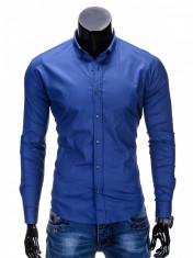 Camasa pentru barbati, bleumarin, simpla, uni, slim fit, elastica, cu guler, bumbac - K219 foto
