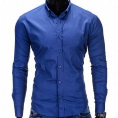 Camasa pentru barbati bleumarin simpla uni slim fit elastica cu guler bumbac K219