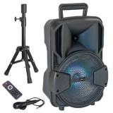 Cumpara ieftin Boxa activa bluetooth LED, acumulator 1800 mAh, USB, microfon inclus
