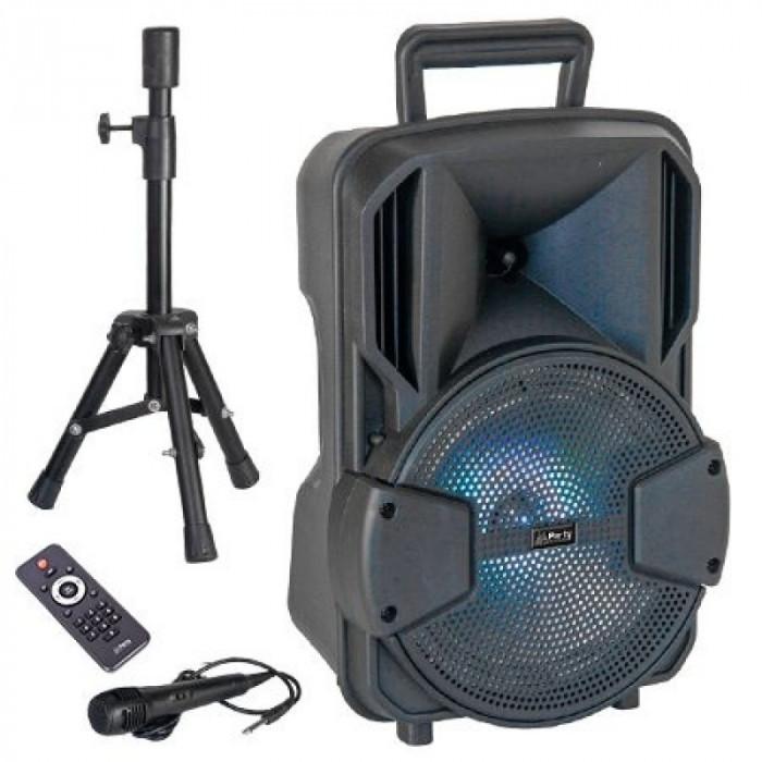 Boxa activa bluetooth LED, acumulator 1800 mAh, USB, microfon inclus
