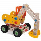 Cumpara ieftin Set de Constructie din Lemn Excavator, 80 piese, Eichhorn
