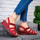 Sandale dama cu platforma rosii Ellaria