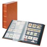 Clasor timbre LINDNER Luxus 30file/60pagini negre, caseta, maro