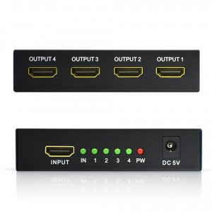 Splitter HDMI 1in - 4 out, 1x4 Spliter 5.1Gbps Repeater Amplifier 1.4 3D 1080p
