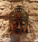 Cap de Budha din lemn, decoratiune perete, cadou