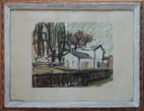 Virgiliu Parghel(1954) - Peisaj cu case, 1981