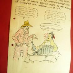 Caricatura anii '50- Acuarela si tus -Bere la Cantina - dim.=21x29cm