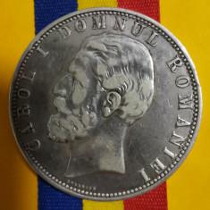 SV * Romania 5 LEI 1880 * ARGINT .835 * REGELE CAROL I * detalii mirifice avers