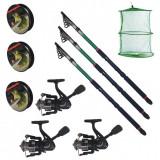 Set pescuit sportiv cu lanseta EastShark de 3.6m, 3 mulinete CFC2000, 3 fire si juvelnic cu 3 inele