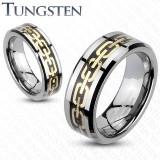 Inel din tungsten cu model de lanț auriu - Marime inel: 54, Grosime: 6 mm