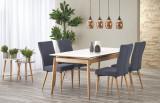 Cumpara ieftin Set masa extensibila din lemn cu blat din ceramica Montreal White / Natural + 4 scaune K273 Dark Grey, L180-220xl90xH76 cm