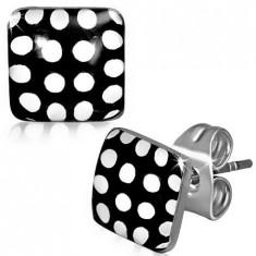 Cercei din oţel, pătrate punctate, alb cu negru