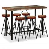 Set bar, 7 piese, lemn masiv reciclat, piele naturală și pânză