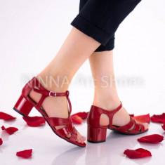 Sandale dama din piele Ninna A55 rosu