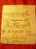 Chitanta 1939 Antet Intr. Comunale Buzau Serv.Perceptie ,cu Timbrul Aviatiei mic