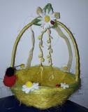 Cosulet sisal  galben cu floricele fetru D20cm h24 cm  decor Primavara - Paste