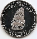 Pitcairn 2 Dollars 2010 - Elizabeth II, Cupru-nichel, 38.61 mm KM-60a UNC !!!