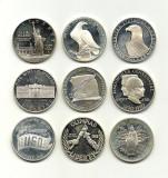USA/SUA Monede 1 DOLLAR ARGINT COMEMORATIV - .900 Ag, 27g - 9 bucati