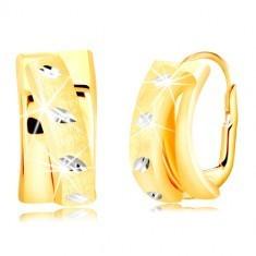 Cercei din aur 585 - arc mat în formă de semicerc, boabe din aur alb
