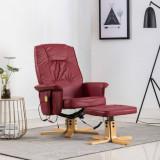 VidaXL Fotoliu masaj rabatabil cu taburet, roșu vin, piele ecologică