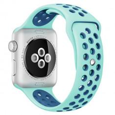 Curea pentru Apple Watch 42 mm Silicon Sport iUni Turquoise-Blue