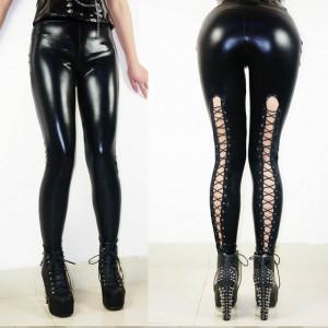 Pantaloni Piele PU Decupati Model Cusatura Snur Colanti Negru Vinil